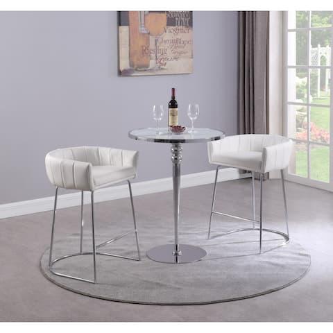 Somette Denzell Super White Starphire Glass 3-Piece Pub Set - Counter
