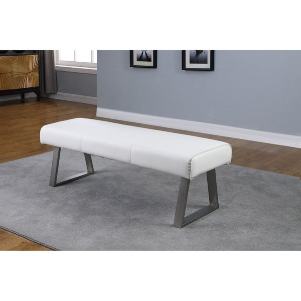 Somette Amelia White Air PU Rectangular Bench. Opens flyout.