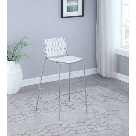 Somette Trevor Stackable Counter Stool with White Weave Back, Set of 2 - Counter Stool