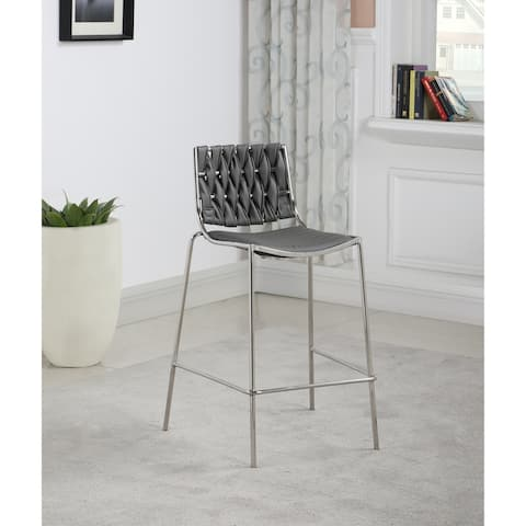 Somette Trevor Stackable Counter Stool with Grey Weave Back, Set of 2 - Counter Stool