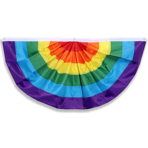 Rainbow Pleated Bunting Flag Gay Pride LGBTQ Banners for Parades Parties 4x2 ft