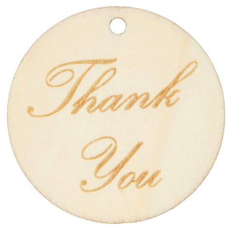 100x Wood Round Thank You Gift Tags with String for Party, Bridal Shower, 1.5 in