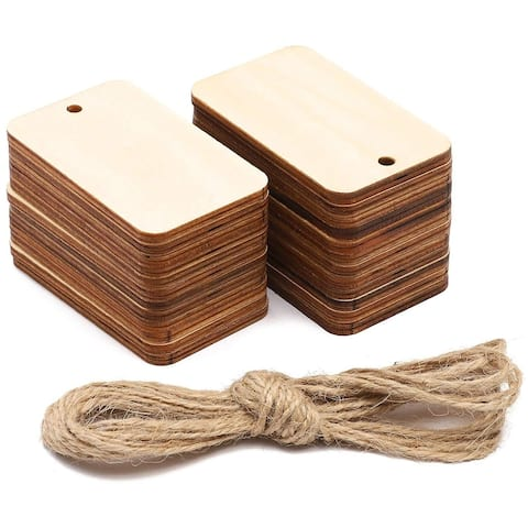 24 Pack Unfinished Hanging Wood Gift Tags with Jute Rope, Rectangle 1.6 x 2.6 in