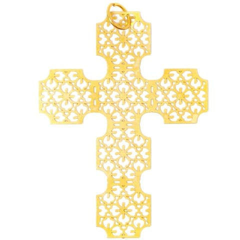 24 Pack Cross Pendants Necklace Charms Bulk for Jewelry Making, Gold 1 x 1.5 Inches