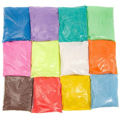 12x Colored Sand Craft Sand for Art DIY Wedding Vase Filler, 12 Assorted Colors - 12 Pack