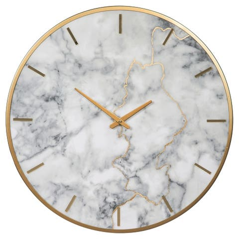 Round Metal Wall Clock with Faux Marble Background, Gold and White