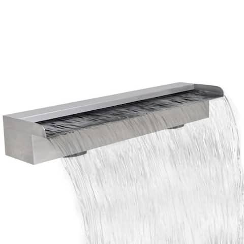 "Rectangular Waterfall Pool Fountain Stainless Steel 23.6"" - 7'6"" x 9'6"""