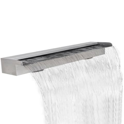 "Rectangular Waterfall Pool Fountain Stainless Steel 59"" - 7'6"" x 9'6"""