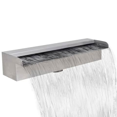"Rectangular Waterfall Pool Fountain Stainless Steel 17.7"" - 7'6"" x 9'6"""