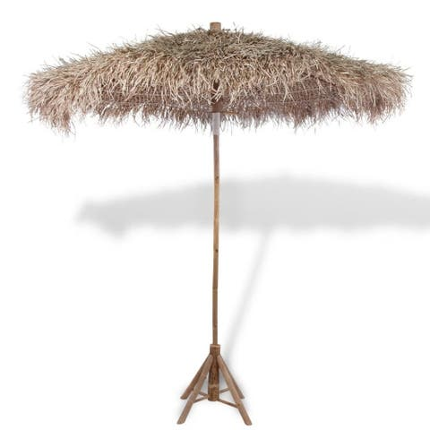 """Bamboo Parasol with Banana Leaf Roof 82.7"""" - 7'9"""" x 9'9"""""""