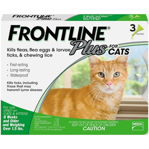 Cats and Kittens Flea and Tick Treatment, 3 Doses,NEW - 6 x 4.5 x 0.5 inches
