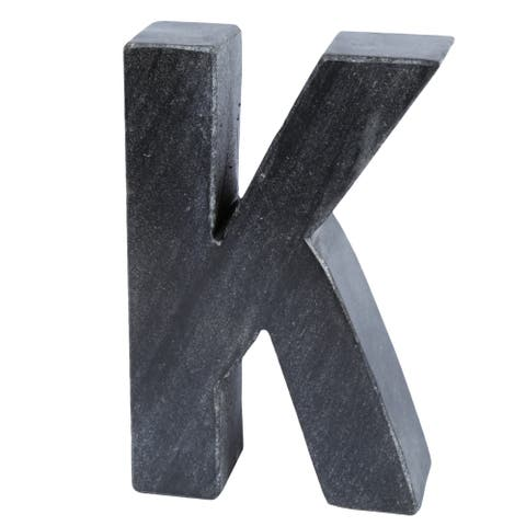 Creative Home Black Marble Letter K Bookend, Paper Weight