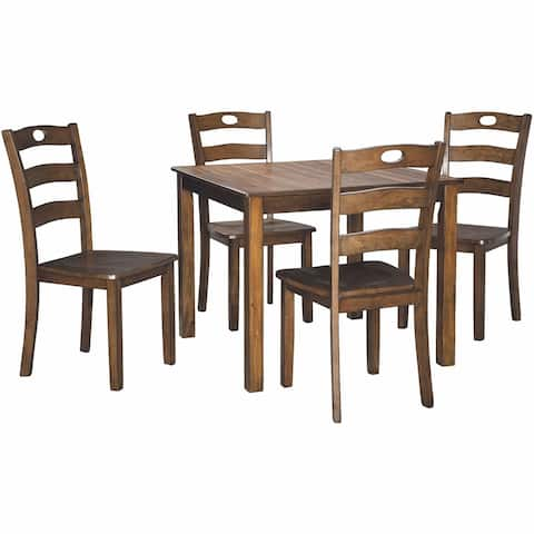 5 Piece Dining Set with 1 Square Table and 4 Curved Back Chairs, Brown