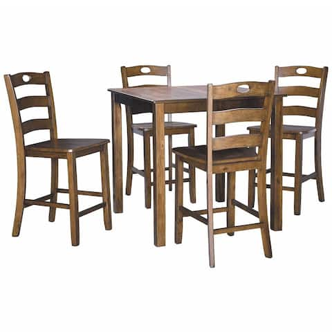 5 Piece Counter Height Set with 1 Square Table and 4 Chairs, Brown