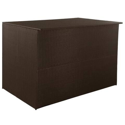 "Garden Storage Box Brown 59""x39.4""x39.4"" Poly Rattan - Black"