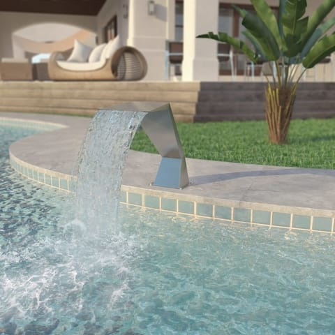 """Pool Fountain Stainless Steel 25.2""""x11.8""""x20.5"""" Silver - 7'10"""" x 10'10"""""""