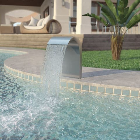 """Pool Fountain Stainless Steel 17.7""""x11.8""""x25.6"""" Silver - 7'10"""" x 10'10"""""""