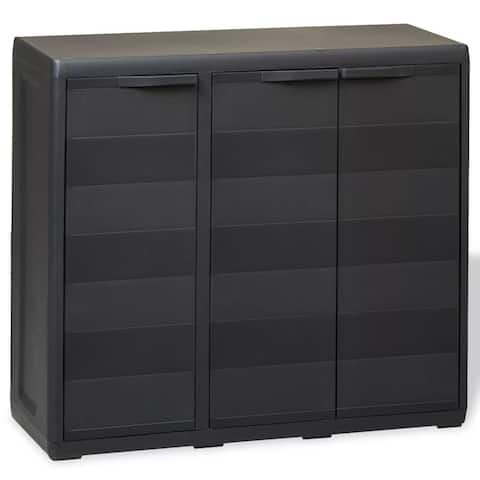 Garden Storage Cabinet with 2 Shelves Black