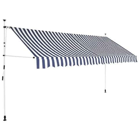 """Manual Retractable Awning 137.8"""" Blue and White Stripes"""