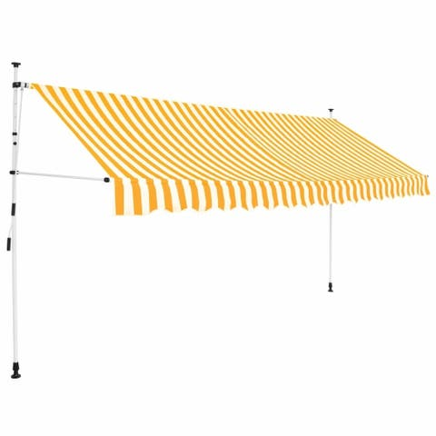 """Manual Retractable Awning 137.8"""" Yellow and White Stripes"""