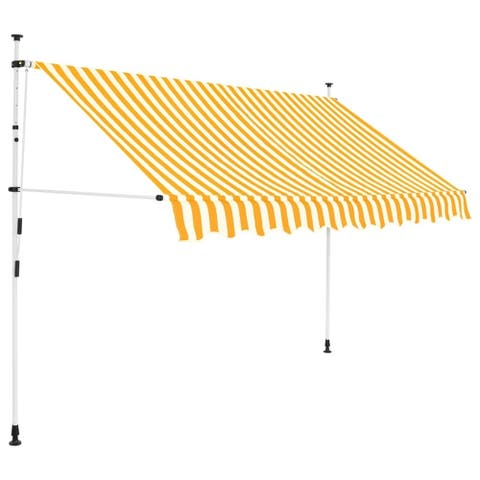 """Manual Retractable Awning 98.4"""" Yellow and White Stripes"""