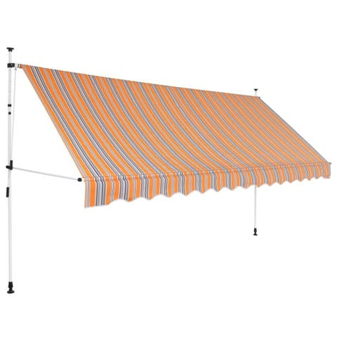 """Manual Retractable Awning 137.8"""" Yellow and Blue Stripes"""