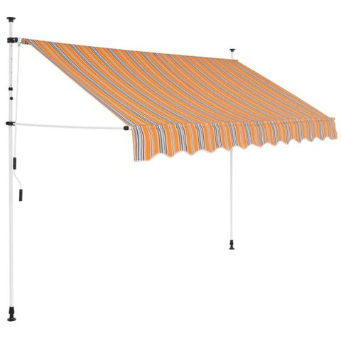 """Manual Retractable Awning 98.4"""" Yellow and Blue Stripes"""