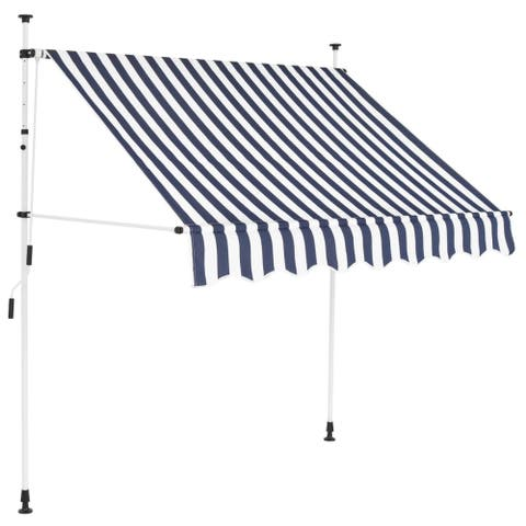 """Manual Retractable Awning 78.7"""" Blue and White Stripes"""