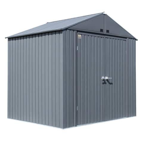 Arrow Elite Steel Storage Shed, 8x6, Anthracite - 8x6