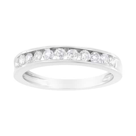 IGI Certified 10K White Gold 1/2ct TDW Diamond Band Ring (J-K,I2-I3)