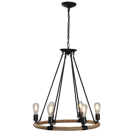 Rio Black Wrought Iron and Rope 6-Light Farmhouse-Style Chandelier