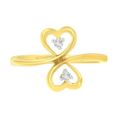 14K Yellow Gold 1/20 ctw. Dual Heart Diamond Ring (K-L, I1-I2)