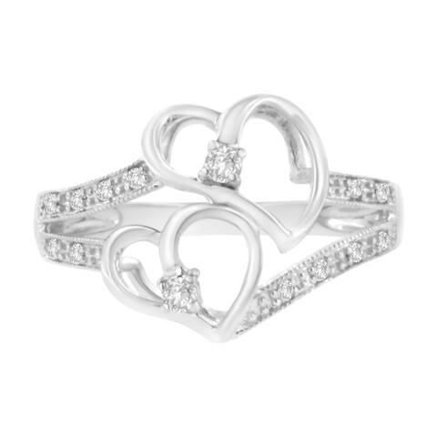 14K White Gold 1/10 ctw Diamond Twin Heart Ring