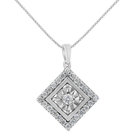 10K White Gold 1/2ct TDW Diamond Square Pendant Necklace (I-J, I2-I3)