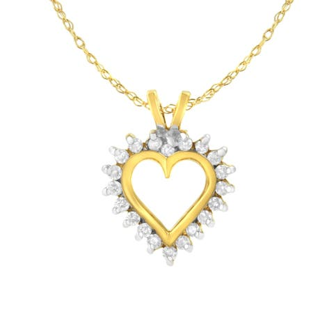 10K Yellow Gold Heart Shaped 1/4 ctw Diamond Pendant Necklace (K-L, I1-I2)