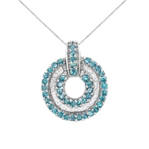 14K White Gold 1/2ct. TDW Treated Blue Diamond Round Pendant Necklace (I-J,I1-I2)