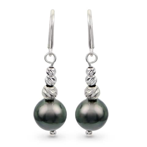 PearLustre by Imperial Sterling Silver Tahitian Pearl and Brilliance Bead Dangle Earrings