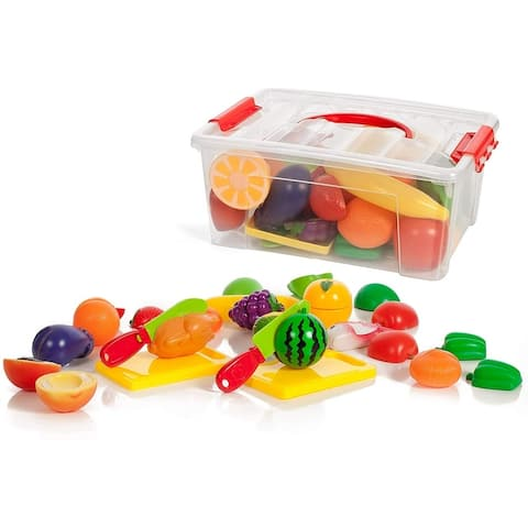 IQ Toys Deluxe Play Food Pretend Playset 35 Hard Plastic Piece Set