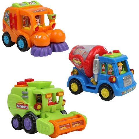 IQ Toys Push & Play 3 Friction Powered Action Construction Vehicles