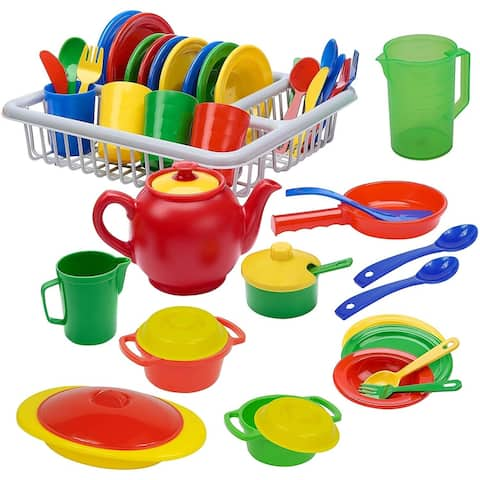 IQ Toys 40 Pc Play Dish Set Pretend Play Childrens Unbreakable Dishes