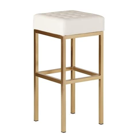 Silver Orchid Stolz White Leather Barstool