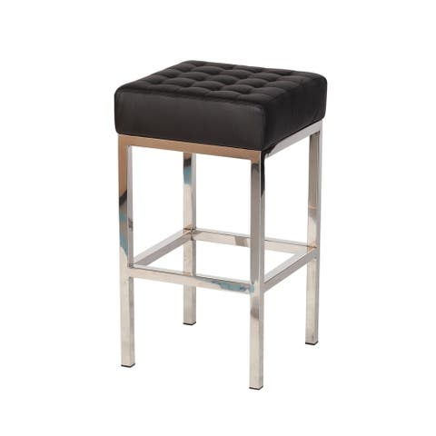 Silver Orchid Stolz Black Leather Counter Stool