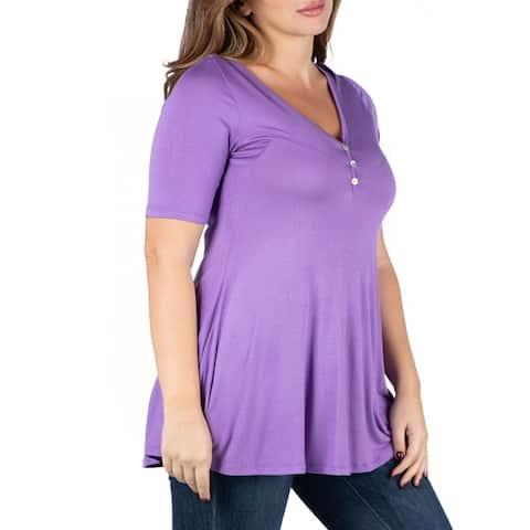 Elbow Sleeve Henley Plus Size Tunic Top