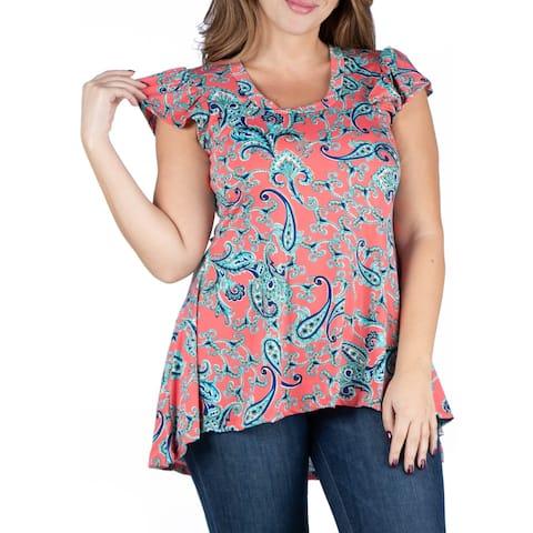 Coral Print Cap Sleeve Hi Lo Plus Size Tunic Top