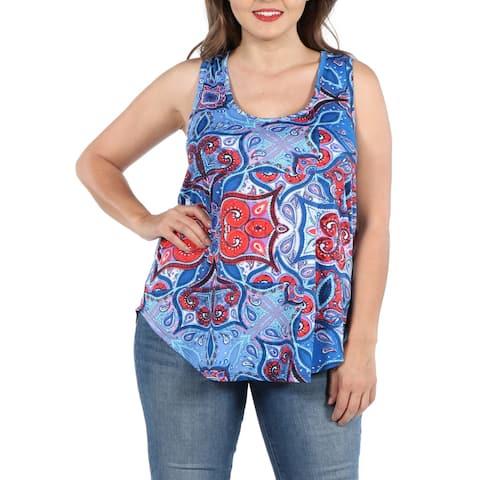 Blue Sleeveless Round Hemline Plus Size Tunic Top