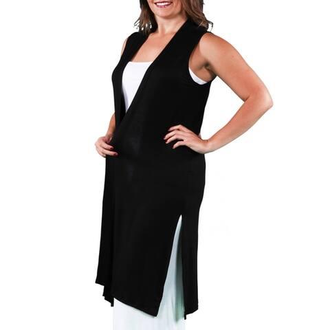 Long Sleeveless Plus Size Cardigan Vest