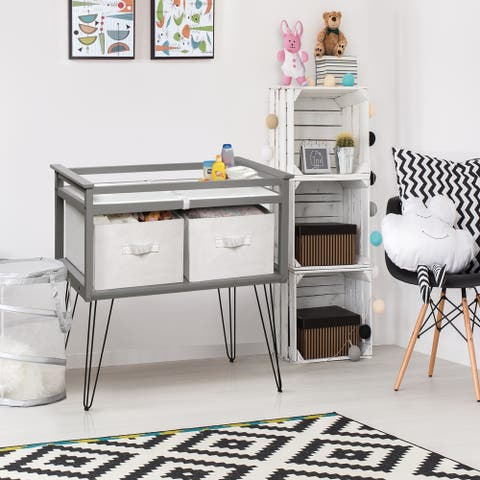 "Badger Basket Contempo Convertible Changing Table with Two Baskets - Gray - 34"" x 20.75"" x 32.5"""