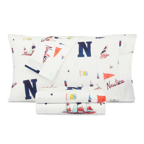Nautica Kids Sketchy Ships Cotton-Rich Sheet Set