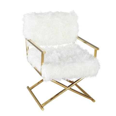 Metal/Faux Fur Director'S Chair, White/Gold
