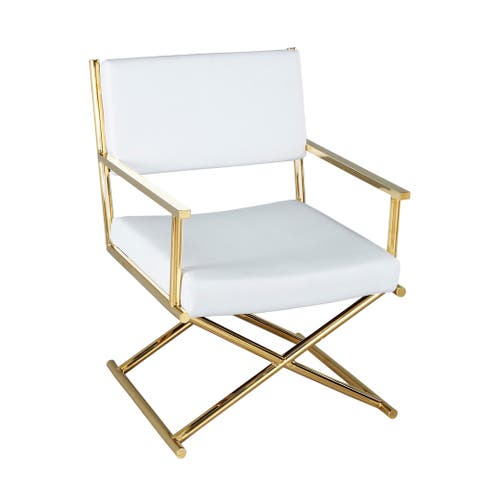 Metal Director'S Chair In Pu, White/Gold